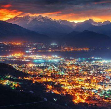 シチリア島の夜の風景 イタリアの風景