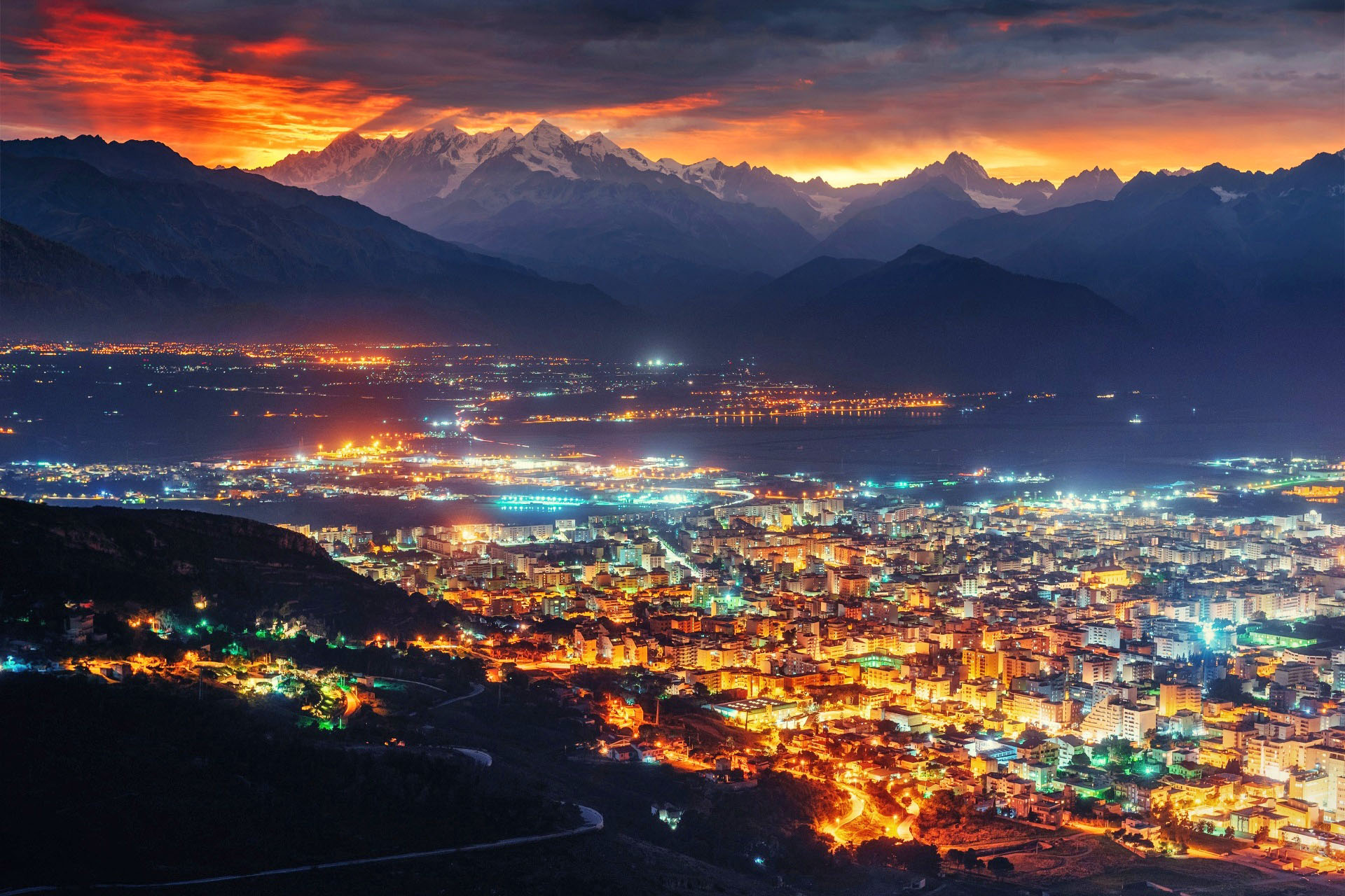 シチリア島の夜の風景