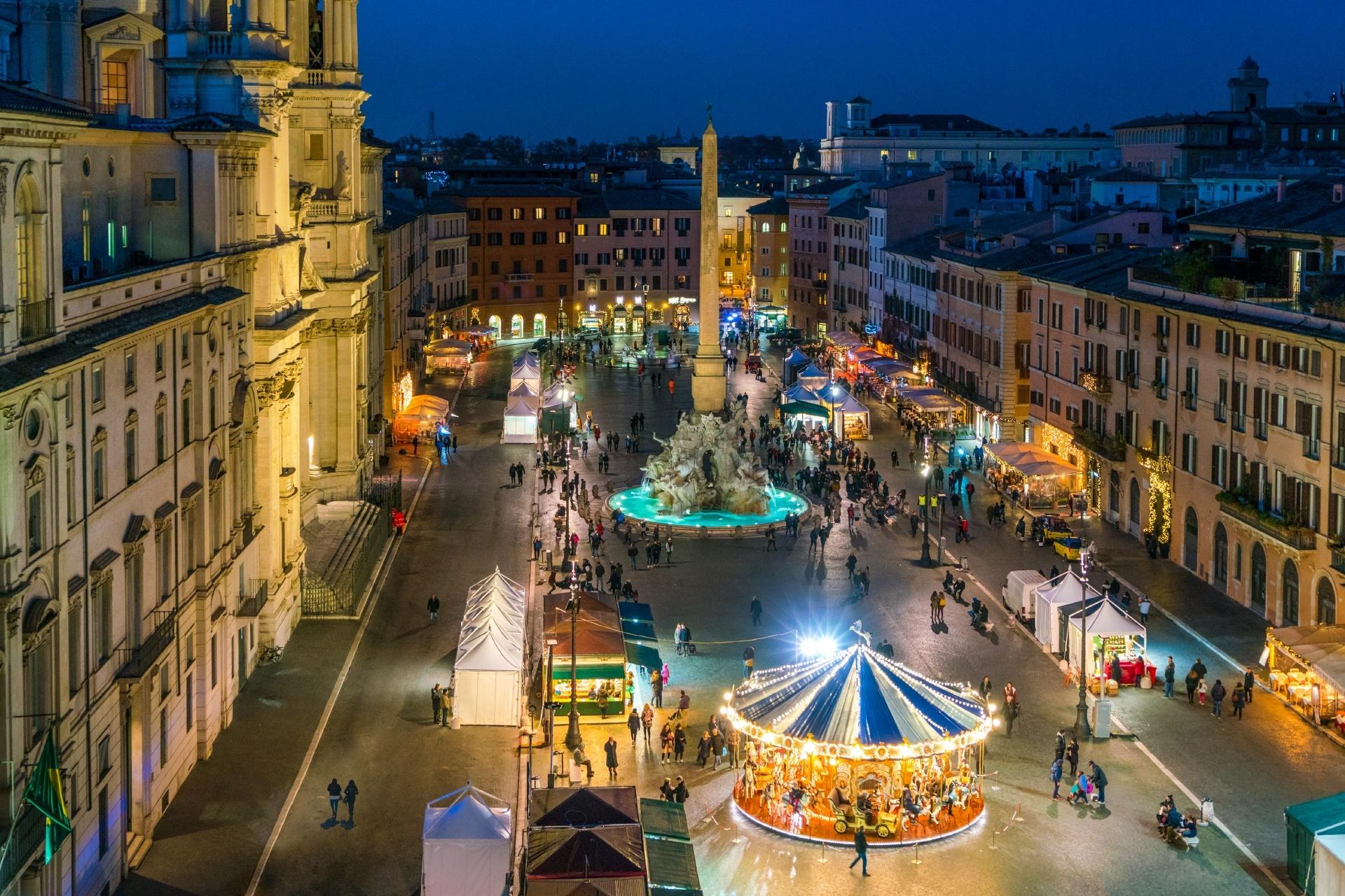 クリスマスのローマ ナヴォーナ広場の風景 イタリアのクリスマス